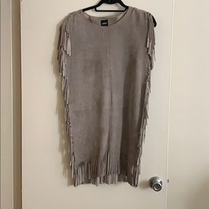 Genuine leather fringed mini dress